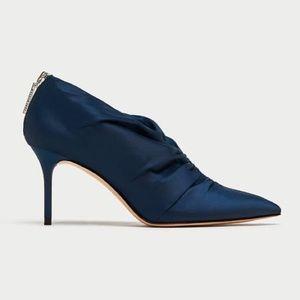 ZARA High Heel Ankle Satin Boots w/ Gathered BLUE